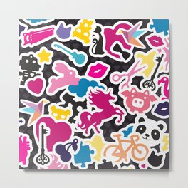 Sticker Frenzy Metal Print