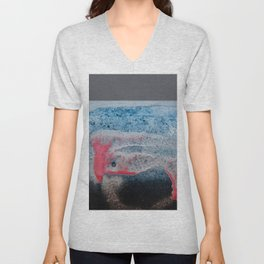 Paint And Texture In Red White Blue Unisex V-Neck