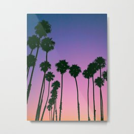 California Landscape Sunset Palm Trees Purple Pink Hues Metal Print