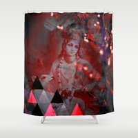 hindu Shower Curtains featuring Krishna Reprise - The Hindu God by sarvesh