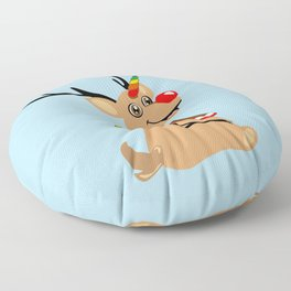 Red Nosed Unicorn Floor Pillow