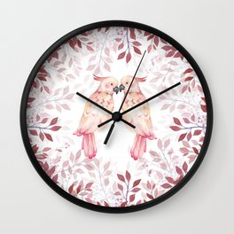 Watercolor burgundy pink tropical cockatoo bird floral Wall Clock