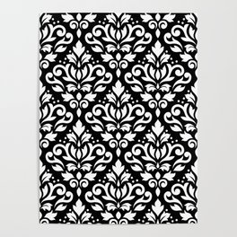 Scroll Damask Big Pattern White on Black Poster