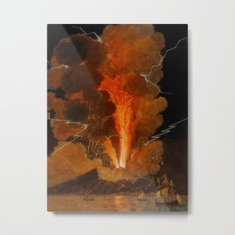 Mount Vesuvius erupting at night, billowing clouds and flashes of lightning Metal Print