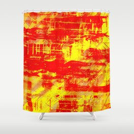 Sunburn - Abstract, yellow, red and orange, textured oil painting Shower Curtain