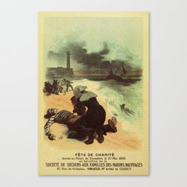 Vintage French drowned sailors charity advertising Canvas Print