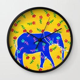 Elephant - blue Wall Clock