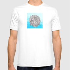Small World White Mens Fitted Tee MEDIUM