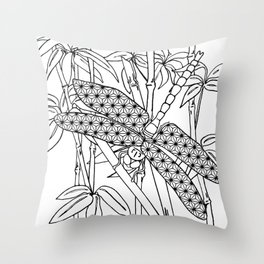 Dragon Fly Line Drawing Throw Pillow