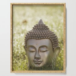 Buddha in the bright lights of morning dew Serving Tray
