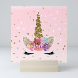 Floral Trendy Modern Unicorn Horn Gold Confetti Mini Art Print