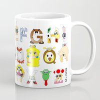 super mario Mugs featuring Super Mario Alphabet by Mike Boon