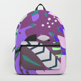 Rabbit and monstera leaves in purple Backpack