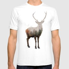 Red Deer X-LARGE White Mens Fitted Tee
