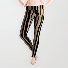 Tan Brown and Black Vertical Var Size Stripes Leggings