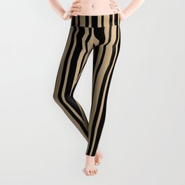 Tan Brown and Black Vertical Var Size Stripes Leggings