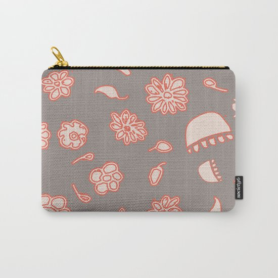 floral black and red Carry-All Pouch