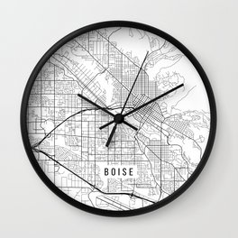 Boise Map, USA - Black and White Wall Clock
