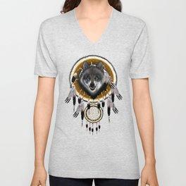 Indian Native Gray Wolf Dreamcatchers Unisex V-Neck