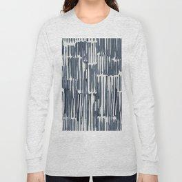 Simply Bamboo Brushstroke Indigo Blue on Lunar Gray Long Sleeve T-shirt