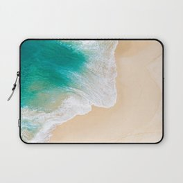 Sand Beach - Waves - Drone View Photography Laptop Sleeve