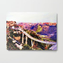 Catanzaro: road on the bridge Metal Print