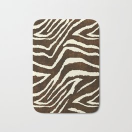 ANIMAL PRINT ZEBRA IN WINTER 2 BROWN AND BEIGE Bath Mat