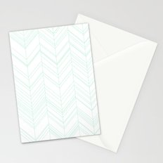 Abstract chevron pattern- light green Stationery Cards