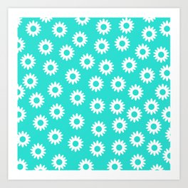 Daisies - Turquoise BG Art Print
