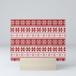 Red Winter Fair Isle Pattern Mini Art Print