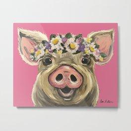 Flower Crown Pig, Farm Animal Art, Cute Pig Metal Print