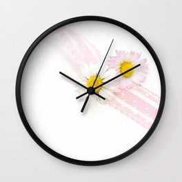 Spring Flowers White and Pink Wall Clock