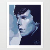 sherlock Art Prints featuring Sherlock by Angela Taratuta