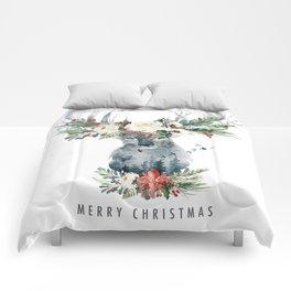 Christmas Deer & Flowers Comforters