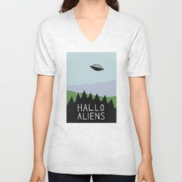 Hallo Aliens Unisex V-Neck