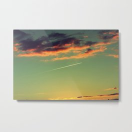 Sunset and Airplanes Metal Print