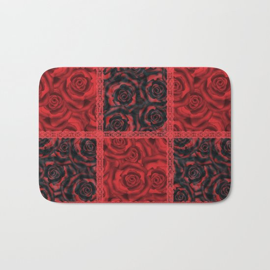 Patchwork . Roses are red. Bath Mat