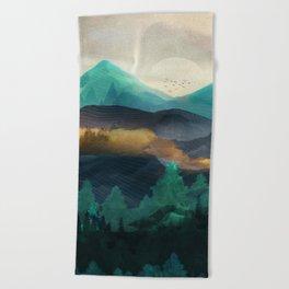 Green Wild Mountainside Beach Towel
