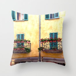 Twin balconies with flower boxes. Throw Pillow