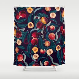 Nectarine and Leaf pattern Shower Curtain