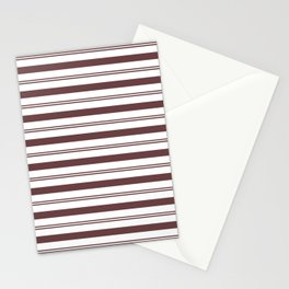 Pantone Red Pear and White Stripes, Wide and Narrow Horizontal Line Pattern Stationery Cards
