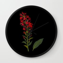 Lobelia Cardinalis  by Mary Delany Paper Collage Floral Flower Botanical Paper Mosaic Vintage Scientific Plant Anatomy Wall Clock