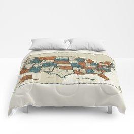 USA Vintage Map Comforters