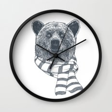 Winter Bear Drawing Wall Clock