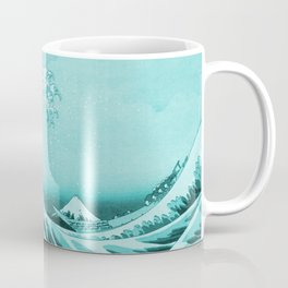 Aqua Blue Japanese Great Wave off Kanagawa by Hokusai Coffee Mug