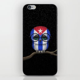 Baby Owl with Glasses and Cuban Flag iPhone Skin