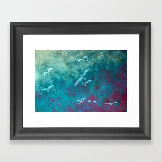 Fleeing the storm Framed Art Print