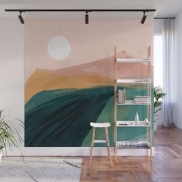 pink, green, gold moon watercolor mountains Wall Mural