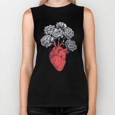 Heart with peonies on black Biker Tank