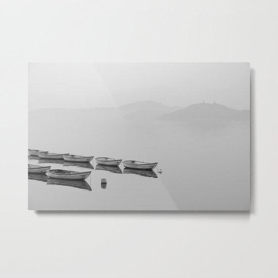 Small boat lake black white Metal Print